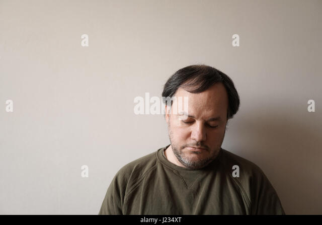 depressed man in his forties - Stock Image