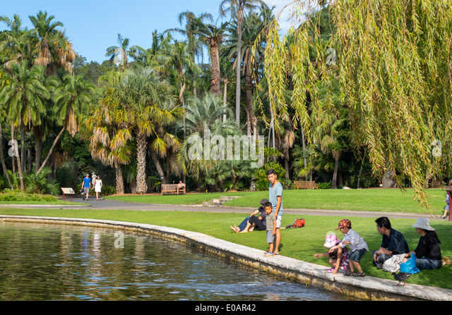 Sydney Australia NSW New South Wales Royal Botanic Gardens Main Pond family park - Stock Image