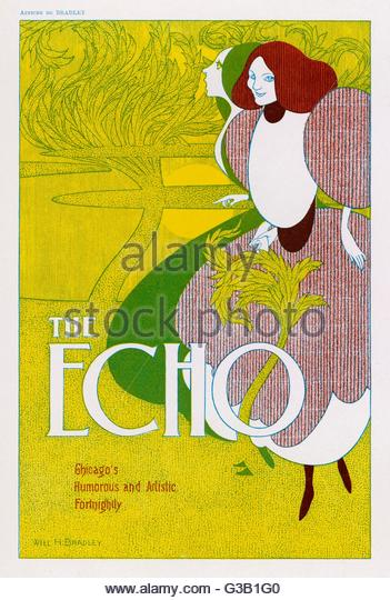 Poster for 'The Echo' -  Chicago's humorous and artistic fortnightly       Date: circa 1896 - Stock-Bilder