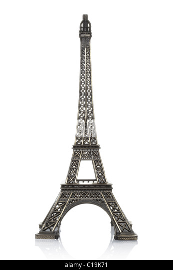 Eiffel tower model isolated on white background - Stock Image