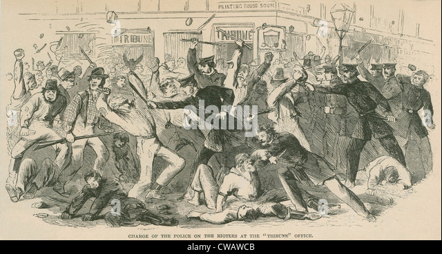 The charge of the  New York City police on the Draft Rioters at the Tribune Office. The Draft Riots lasted from - Stock Image