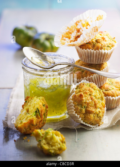 Courgette and goat cheese muffins,green tomato jam - Stock Image