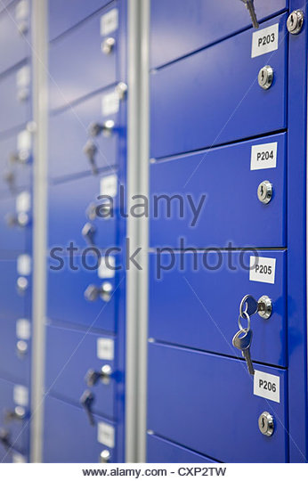 Close up of keys in lockers - Stock Image