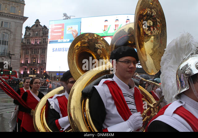 London,UK,1st January 2014,Troy High School Trojan marching band at the London's New Year's Day Parade 2014 - Stock Image