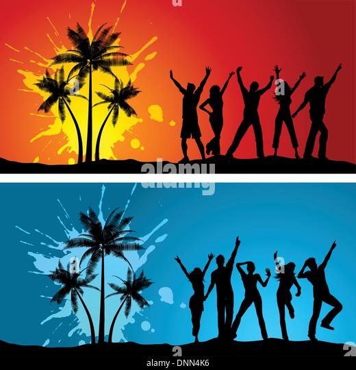Silhouettes of people dancing on grunge palm tree backgrounds - Stock-Bilder