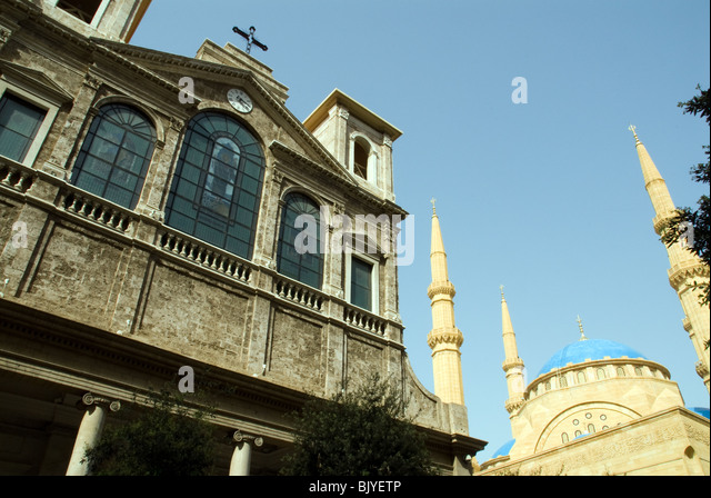church and mosque Beirut Lebanon - Stock Image