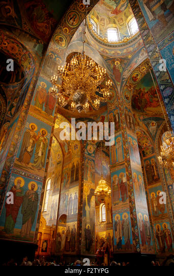 Russia, St Petersburg, church of the Spilled Blood interior - Stock Image