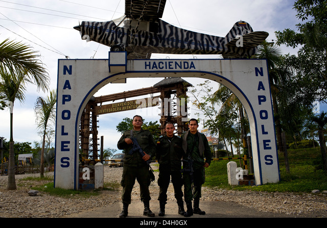 Colombian Police forces at the ex-entrance of Ranch Napoles, property of Pablo Escobar, Medellin, Colombia, South - Stock Image