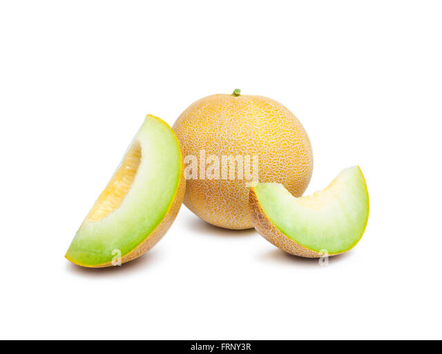 Melon honeydew and two melon slices - Stock Image