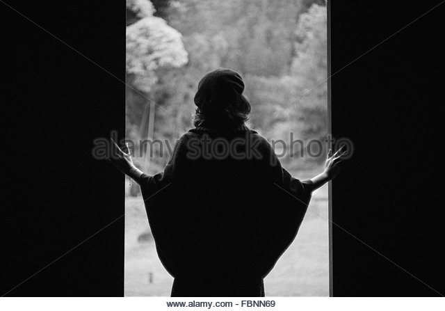 Rear View Of Woman At Open Gate - Stock Image