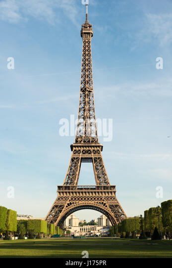 Sunny morning in Paris and Eiffel Tower, Paris, France. - Stock Image