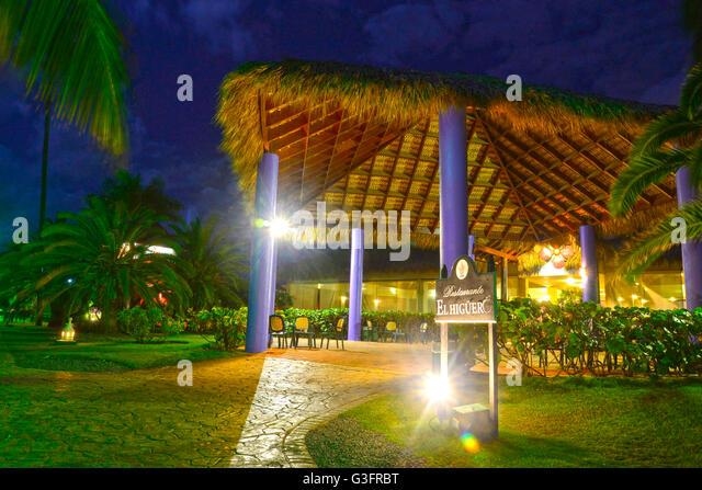 Caribbean Resort at dusk, Punta Cana, Dominican Republic - Stock Image