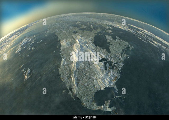 COMPOSITE Aerial shot of Earth North America COMPOSITE - Stock Image