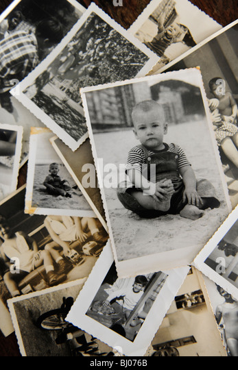childhood: stack of old photos - Stock-Bilder