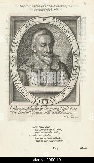 Portrait of Gustavus Adolphus, King of Sweden, Nicolaes de Clerck, Anonymous - Stock Image