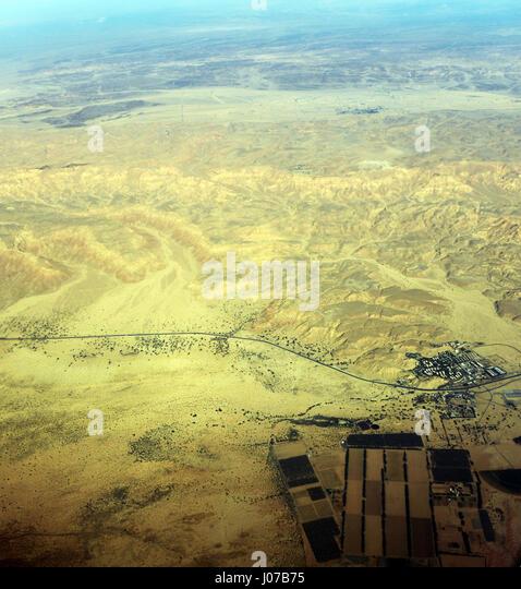 Aerial view of the Israeli kibbutz of Yotvata in the Arava desert. - Stock Image