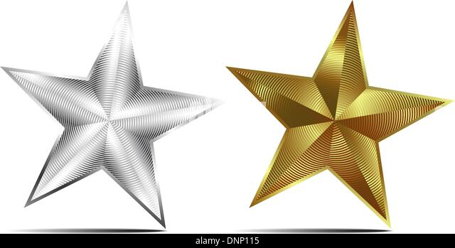 Gold and Silver Vector Stars - Stock Image