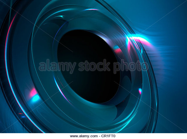 Abstract digitally generated backgrounds with metallic blue circle shape - Stock Image
