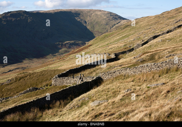 Descent from Red Screes towards Ambleside, Lake District. - Stock Image
