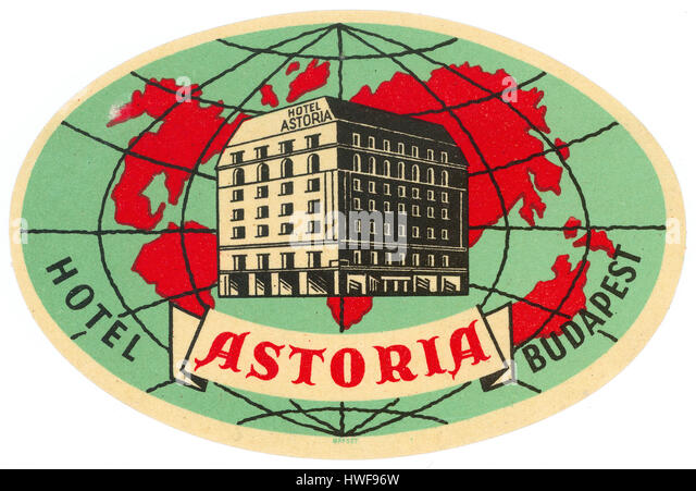 Hotel Astoria, Budapest, Hungary, Luggage Label - Stock Image