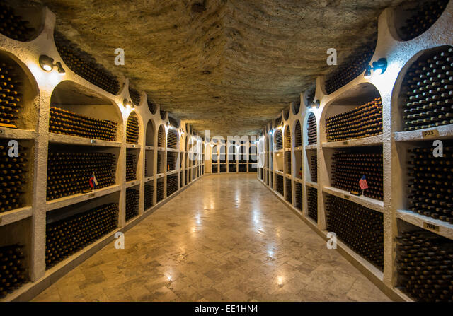 Selected wines from the past in the Wine tasting area in the cellars of Cricova, Moldova - Stock Image
