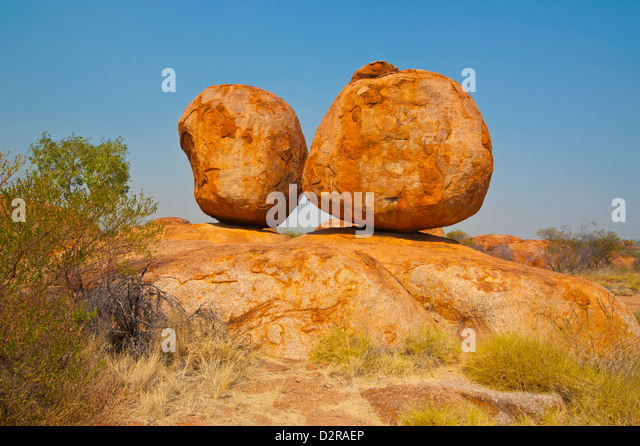 Granite boulders in the Devil's Marbles Conservation Reserve, Northern Territory, Australia, Pacific - Stock Image