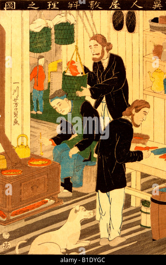 Cooking in foreign settlement house - woodcut - Stock-Bilder