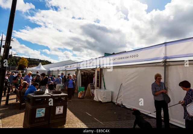 Truro City food festival tent marque Cornwall cornish outside exterior - Stock Image