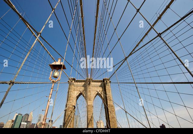 Brooklyn Bridge in the sunlight, Manhattan, New York, USA, America - Stock-Bilder