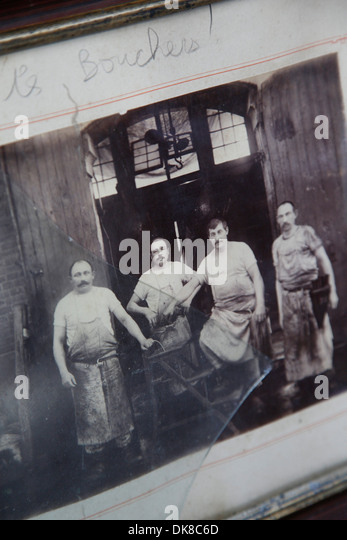 Old picture of butchers at Torvehallerne, the new food market opened in Sept. 2011 at Israels Plads, Copenhagen, - Stock Image
