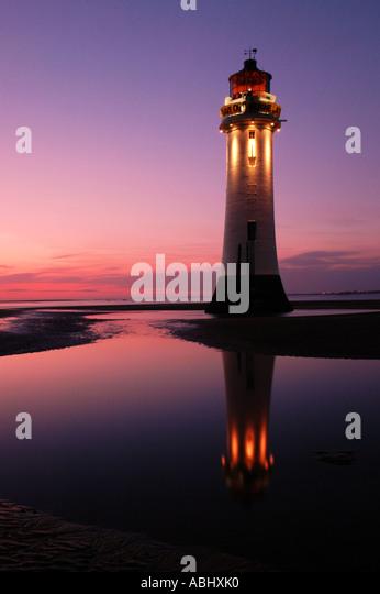 Perch Rock Lighthouse at New Brighton Merseyside UK - Stock Image