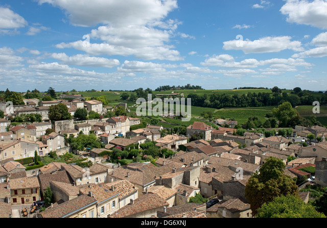 Saint Emilion and vineyards in the Bordeaux Region of France famous for its fine wines and vineyards, a World Heritage - Stock Image