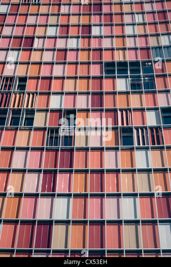 Colourful modern architecture of GSW office tower in Berlin Germany - Stock Image