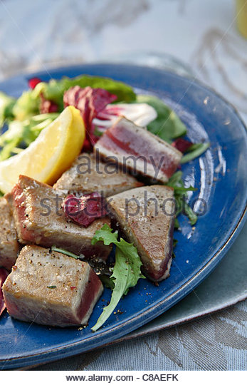 Pan-fried tuna - Stock Image