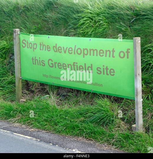 Greenfield Site Development Protest Banner, Mullion Village, Lizard Peninsula, Cornwall, England, UK - Stock Image