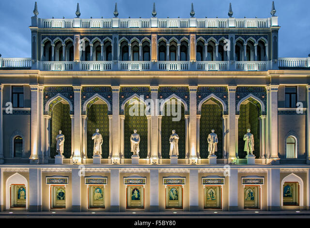 The Nizami Museum of Azerbaijan Literature in Baku. The statues are of famous Azeri writers. - Stock Image