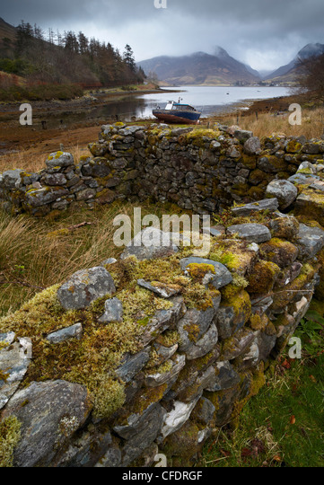 A moody morning at Loch Long, Lochalsh, Scotland, United Kingdom, Europe - Stock Image