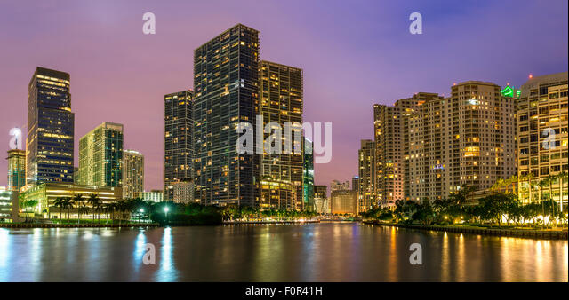 Miami Downtown, Brickell Key at Night - Stock Image