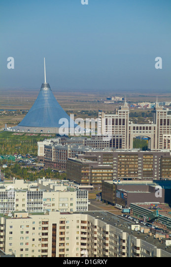 View of city center, looking towards KazMunaiGas building, and Khan Shatyr center, Astana, Kazakhstan, Central Asia - Stock Image
