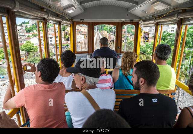 RIO DE JANEIRO - MARCH 24, 2016: Passengers ride the bonde tram to Santa Teresa, a service being reinstated after - Stock Image