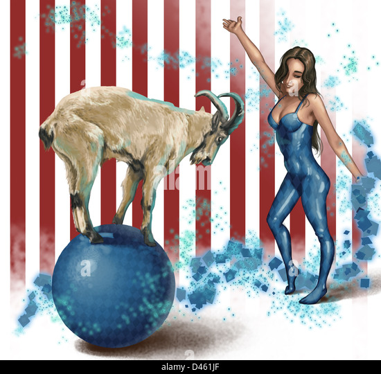 Illustrative image of female performer looking at goat balancing on sphere - Stock-Bilder