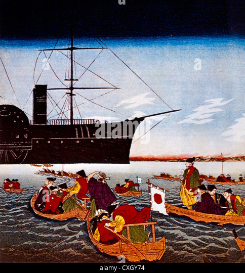 Commodore Matthew C. Perry's Black Ship Arriving in Japan, Print, 1853 - Stock Image