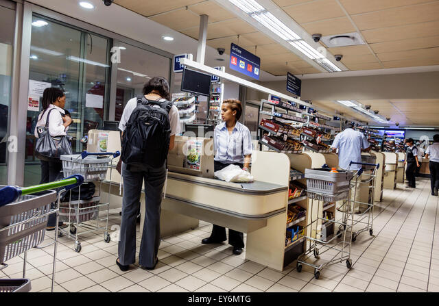 Cape Town South Africa African City Centre center Pick n Pay grocery store supermarket inside interior food sale - Stock Image