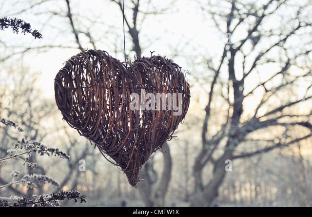 Heart shape Christmas decoration outdoors - Stock Image