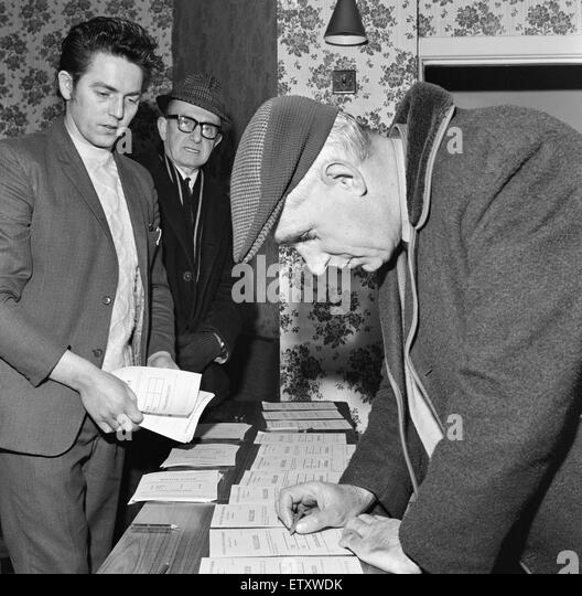 1972 Miners Strike. Miners are balloted for crucial vote on the Wilberforce Report, concerning an increase in the - Stock Image