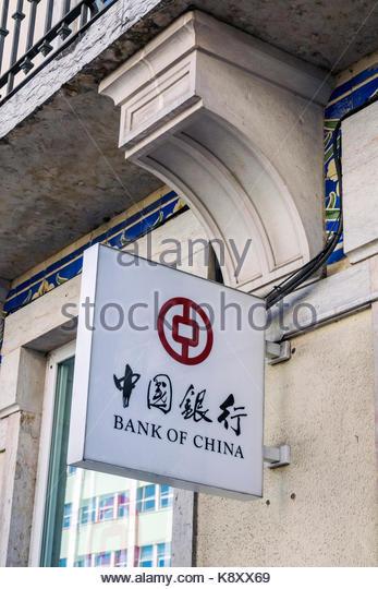 Portugal Lisbon Praca Marques de Pombal Rua Braamcamp Bank of China sign exterior Hanzi characters - Stock Image