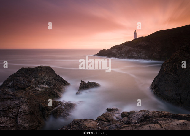 Trevose Head Lighthouse at sunrise, Cornwall. - Stock Image