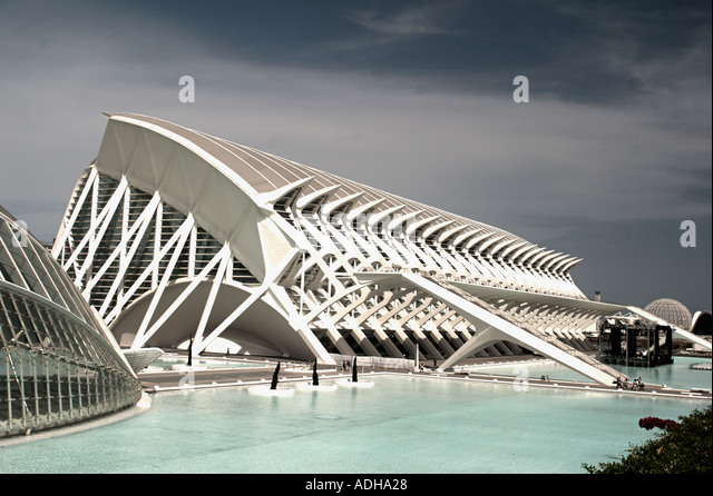Spain Valencia City of sciences and arts by architect Santiago Calatrava museum of science  - Stock Image