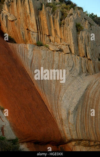 Tilted rock layers Dinosaur National Monument Utah - Stock Image