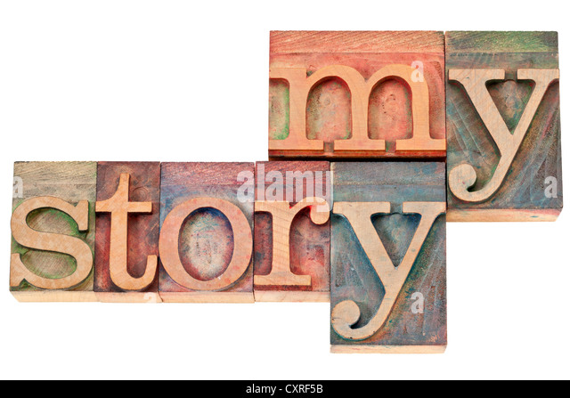 my story - isolated text in vintage letterpress wood type printing blocks - Stock Image